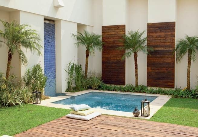 Small pool with minimal landscaping. Variations in the walls and different…