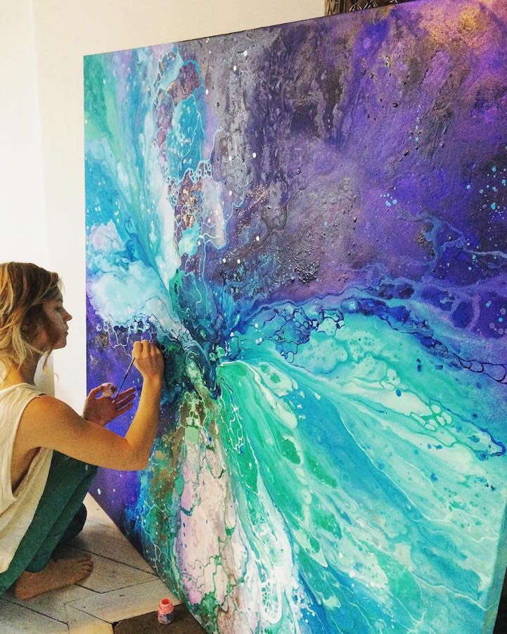 Through gorgeous, ethereal paintings, artist Emma Lindström creates a tangible representation of a feeling. To her, this feeling is floating and irrational, but always uplifting and full of hope—one that can be experienced, but never formed into a thought. The conceptual basis for Lindström's artwork lends itself to the sprawling, abstract compositions that she painstakingly labors over. Here, deep blues, light pinks, emerald greens, and other vibrant pigments converge into visual splendor…