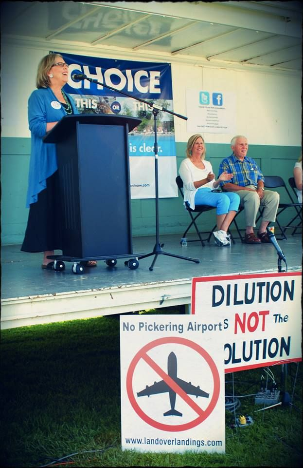 Elizabeth May, Leader of the Green Party of Canada, delivered a stirring keynote address before visiting Land Over Landings' booth and pledging her personal support.