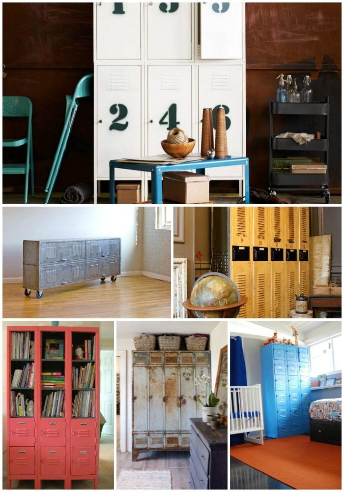 Repurposed Lockers as a dresser, chest, nightstand, etc.