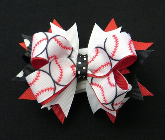 Baseball Glam Girls Hair Bow - Add a little bit of sports glam to all of her outfits with this fun baseball hairbow! www.PinkBowtique.com