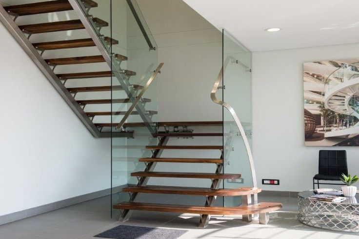 custom stainless steel staircase, timber treads, glass balustrades