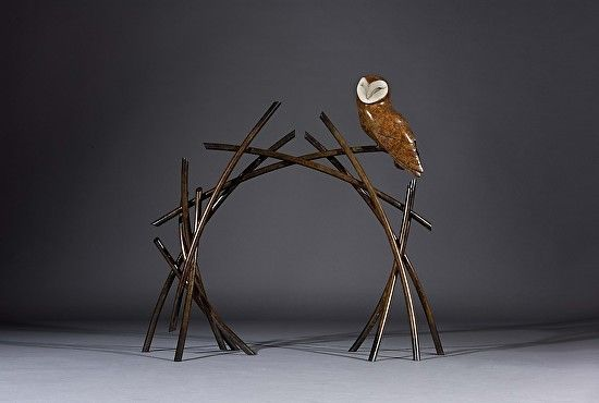Barn Owl and Branches by Simon Gudgeon by Simon Gudgeon Bronze ~ 82 x 87