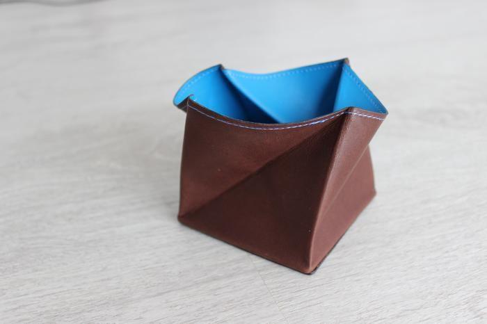 Porte monnaie Hurbane - Cuir brun et bleu