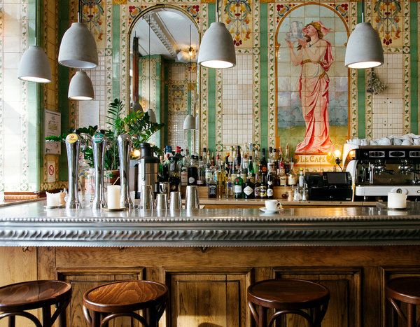 "Elaine Sciolino,""36 Hours in Paris, Right Bank,"" The New York Times (23 September 2015). Photo: The bar at Poulette, a Belle Époque brasserie, is the place for steak frites. Credit Alex Cretey-Systermans for The New York Times."