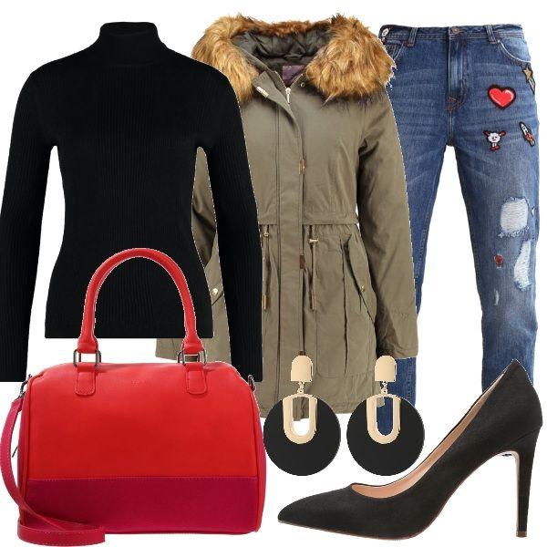 Una+delle+maggiori+tendenze+di+questa+stagione+è+customizzare+il+jeans.+In+questo+outfit+vi+propongo+un+jeans+baggy+con+strappi+ed+applicazioni+abbinato+a+maglione+a+costine+nero+a+collo+alto+e+parka+color+oliva+con+cappuccio+e+collo+in+pelliccia+sintetica.+Come+accessori+ho+scelto+una+borsa+a+mano+bicolore+rosso+e+rosa,+décolleté+nere+con+tacco+a+spillo+e+orecchini+pendenti+color+nero+e+oro.
