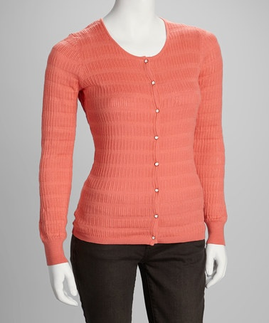 Take a look at this Coral Cardigan by YAL on #zulily today!