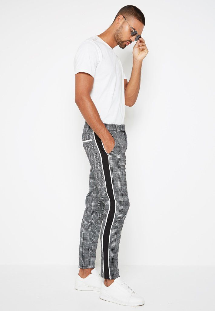 6d663d3a Check Trousers with Side Stripe - Grey | fashion in 2019 | Men's ...