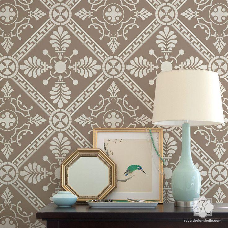 Art Deco Greece Geometric Tile Stencil from Royal Design Studio Wall Stencils