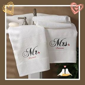Among our favorite gifts for newlyweds is this personalized set of Mr. & Mrs. towels... #weddinggifts #newlywed #giftideas