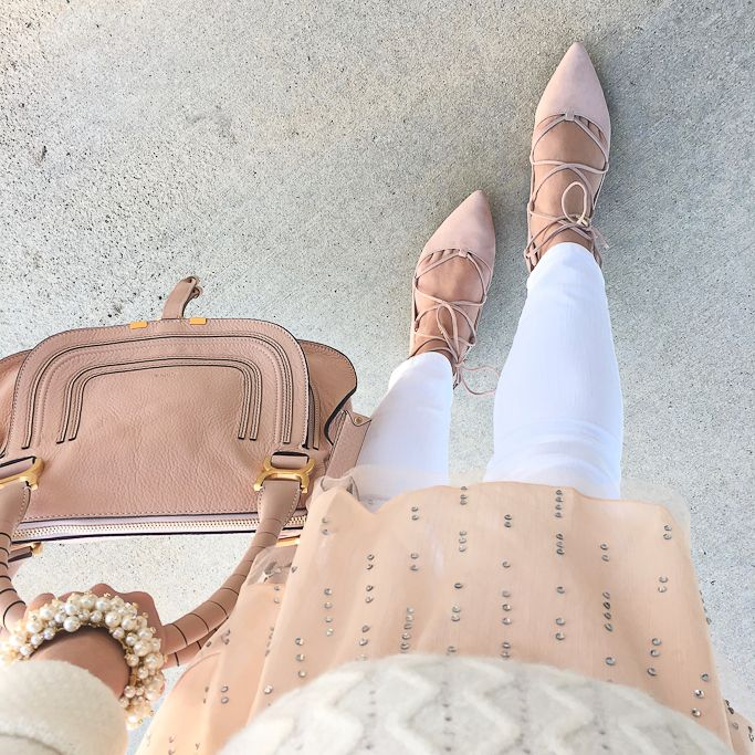 StylishPetite.com | Winter whites, Cabled ballerina pullover sweater, Chloe marcie small leather satchel, pearlized bobbled stretch bracelet, Tropica ghillie blush lace up flats, white jeans, Fall outfit, Winter outfit - click on the photo for complete outfit details!