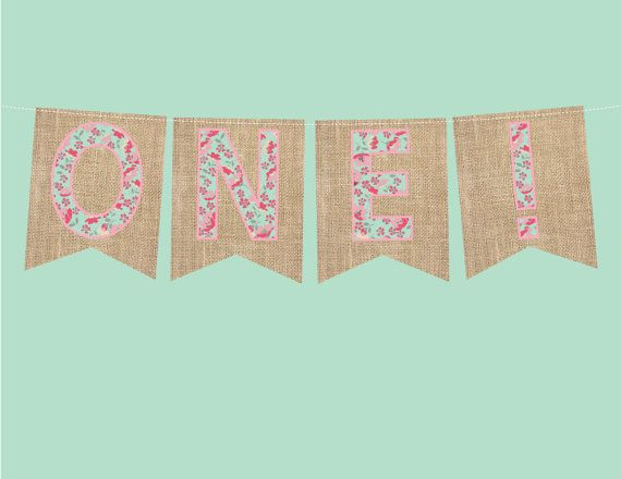 ONE banner pennant First Birthday Party floral by LovelyLuxeDesign