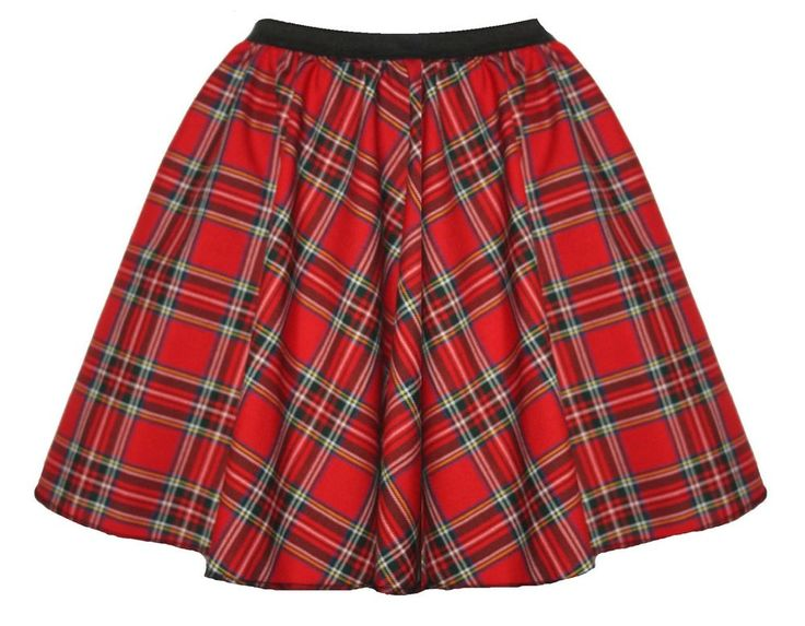 15  Red Or Blue Tartan A-Line Skater Skirt Kilt Burns Night Fancy Dress BT
