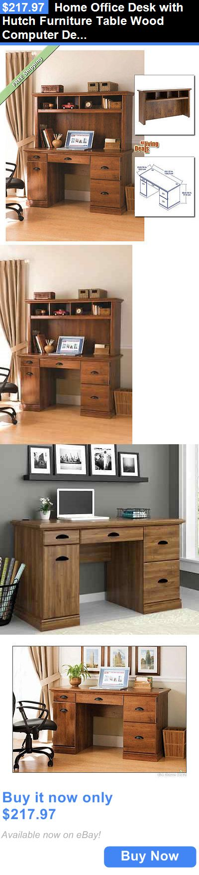 Office Furniture: Home Office Desk With Hutch Furniture Table Wood Computer  Desks, Abby Oak