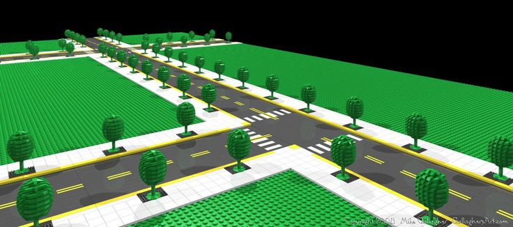 Misc Custom LEGO Roads; pov-ray render of lego custom roads