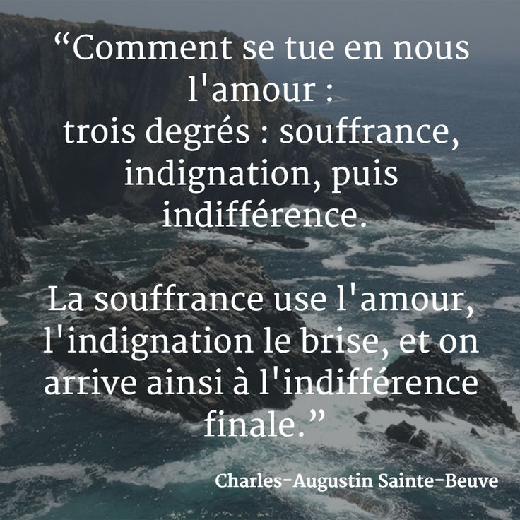 """""""Comment se tue en nous l'amour : trois degrés : souffrance, indignation, puis indifférence. La souffrance use l'amour, l'indignation le brise, et on arrive ainsi à l'indifférence finale."""" (Charles-Augustin Sainte-Beuve) #citation #amour #indifférence"""