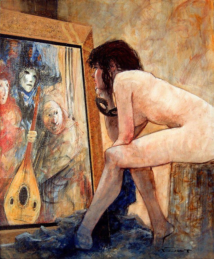 """Marcel Nino Pajot """"Nu au tableau - Vali"""" Technique mixte sur toile (73 x 60)  2001"""
