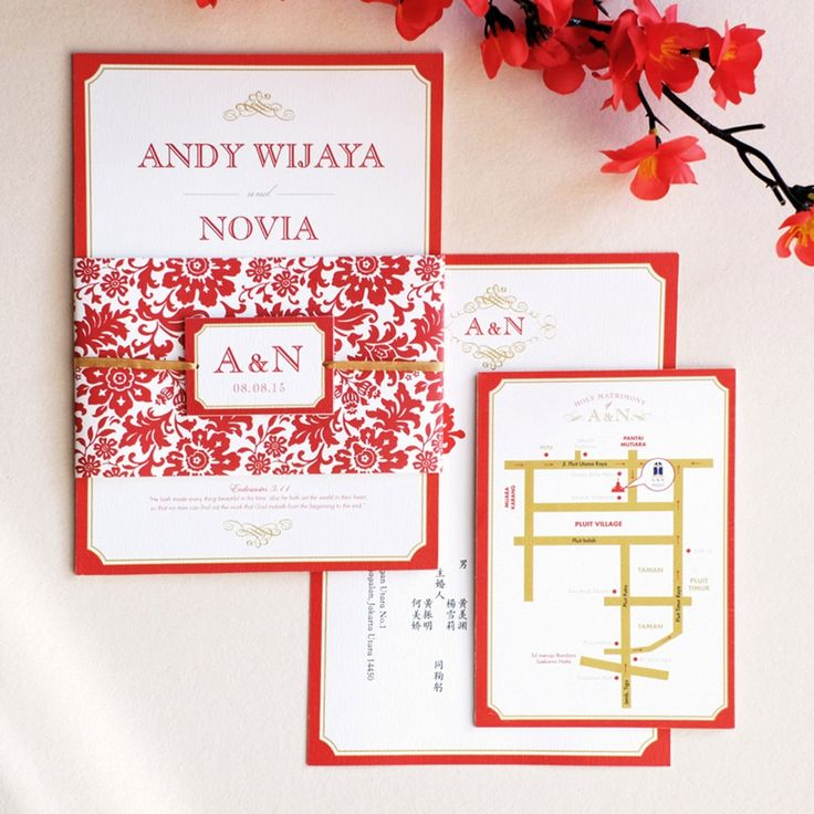 Derived from French word of 'chinois' (Chinese), it is the mixture of Eastern and Western design style - Oriental Wedding Invitation by Memento.