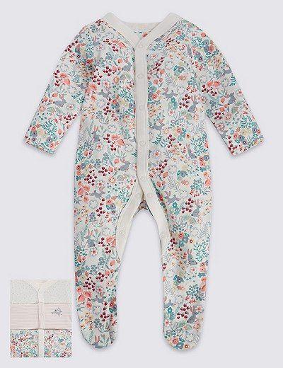 1x NB 3 Pack Girls' Assorted Sleepsuit   Marks & Spencer London