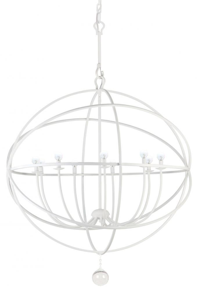 Wet white finish globe chandelier dulles electric supply corp