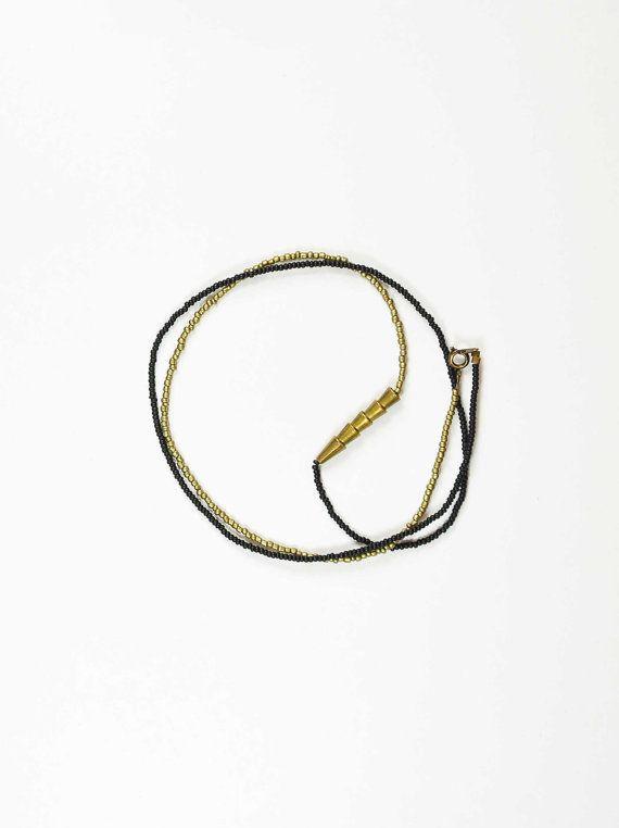 colorblock black and brass taper tube necklace / bracelet