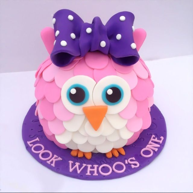 OMG!!!! @Khrista Dalino Dalino Baxter Do you think she could do this?!?!? It's perfect! 3D Owl Cake - Smash Cake - First Birthday - Owl Smash Cake