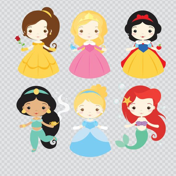 Princesses 01 Clipart Set – Instant Download – PNG Files