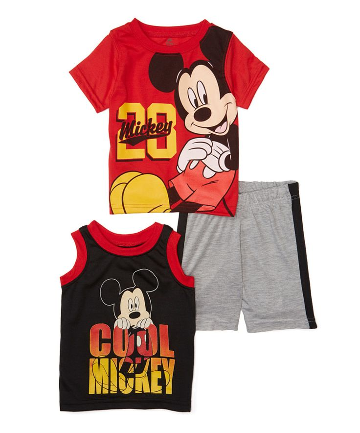 Mickey Mouse Three-Piece Tank, Tee & Short Set - Infant by Mickey Mouse #zulily #zulilyfinds