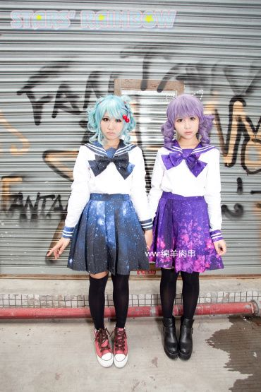 Printed psychedelic rainbow gradient Star Galaxy Star sailor shirt tie-sleeved version - Taobao Cosplay Sailor fuku Sailor Uniform