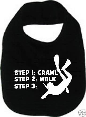 crawl walk scuba dive diver diving custom  baby infant bib color choice pink blue black white shower sports gift idea