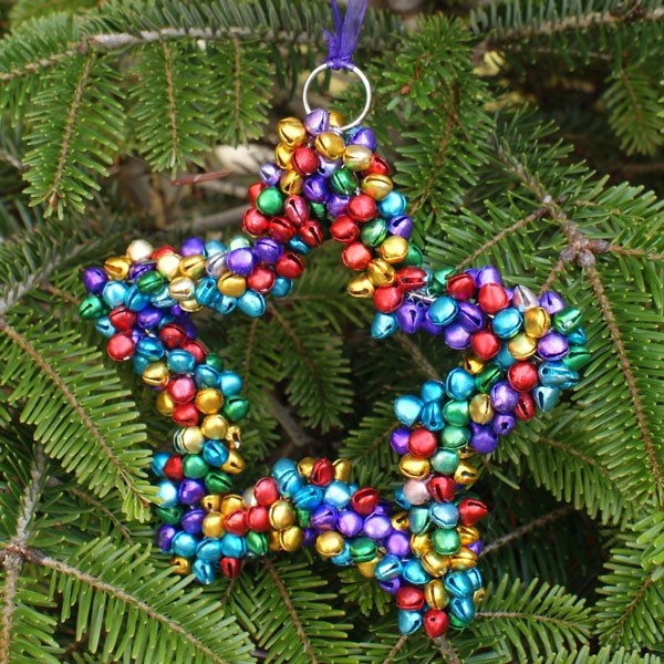 Handmade multi-coloured hanging star decoration with bells from India