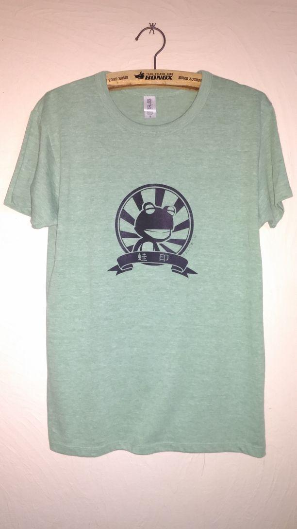 蛙印Tシャツ(薄手・ヘザーグリーン・黒インク)画像1