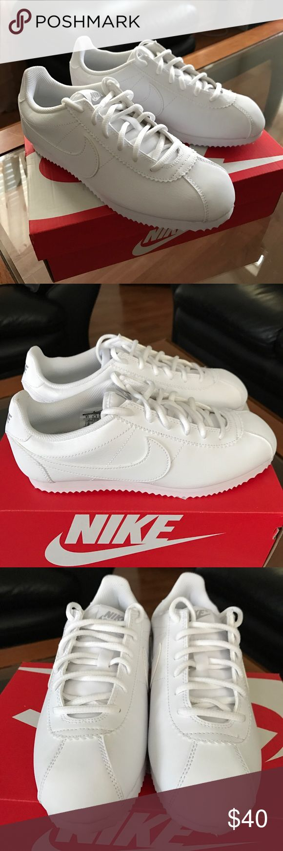 Nike Cortez (Youth SZ 6Y, also fits Women's SZ 7) Girls/Kids SIZE 6Y. These are a pair of Nike shoes in the style Cortez in all white. They are brand new and will ship in box. They have only been tried on once and are in perfect condition. They are a SIZE 6Y in girls but will also fit an adult women's size 7. The construction allows them to be very lightweight and comfortable for walking. Nike Shoes Sneakers