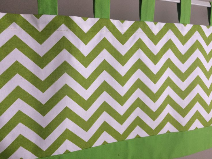 Tab Top Valance, Chartreuse Green/White Chevron Valance, Green Tab Top Valance, White Tab Top Valance, Green/White Chevron Window Treatment by CleusaSordiDecor on Etsy