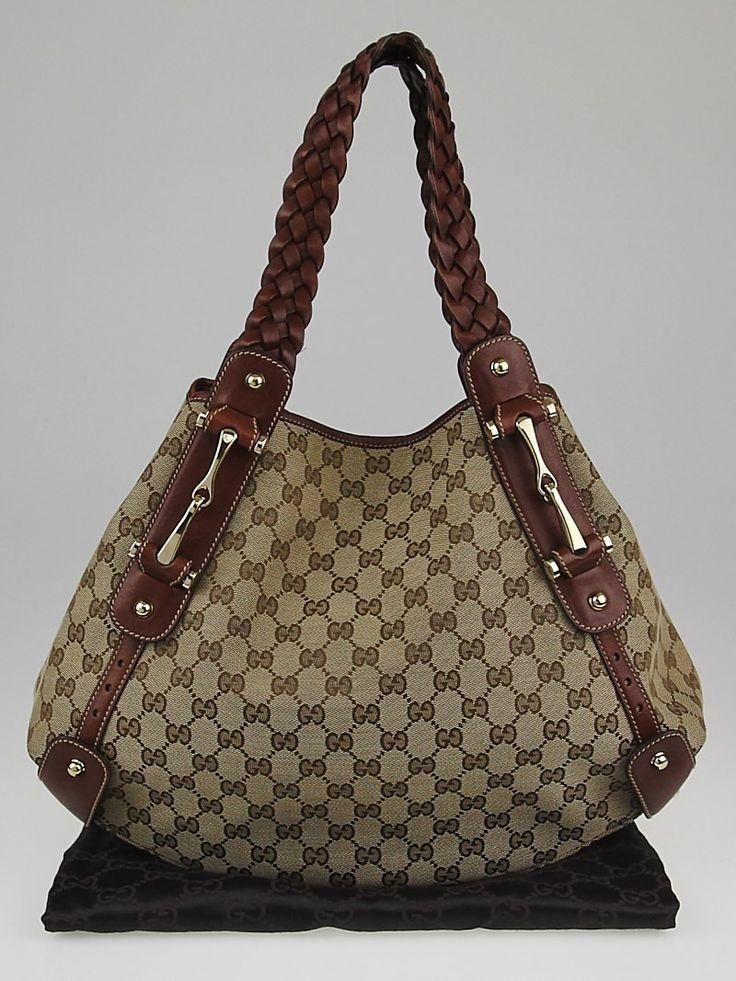 Gucci Beige/Brown GG Canvas Medium Pelham Shoulder Bag