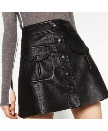 Black leather mini A line skirt