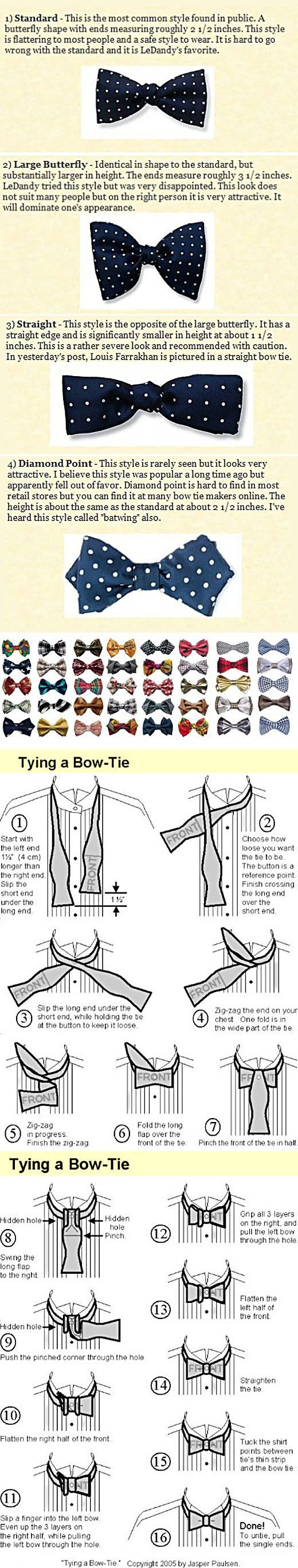 Everything you need to know about the bow-tie. I'm pinning this just for the fun of knowing how to tie a bow-tie.