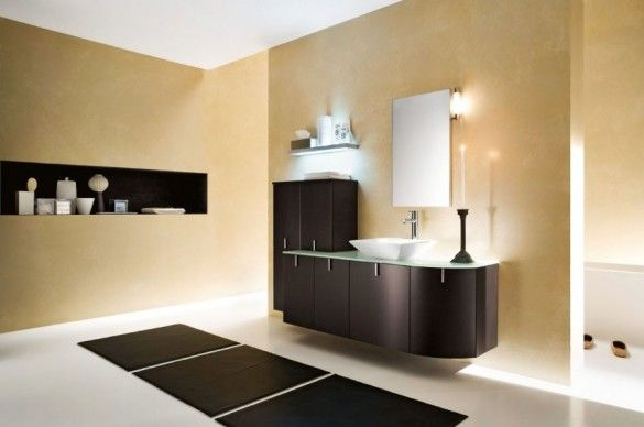 50 Beautiful Modern Bathroom Designs with Luxury Furniture : Modern Bathroom With Warm Beige Color And Black Furniture