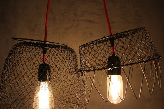 FISHNET LAMP  Set of 2 black pendant lights. Made of by TAATMAAKT