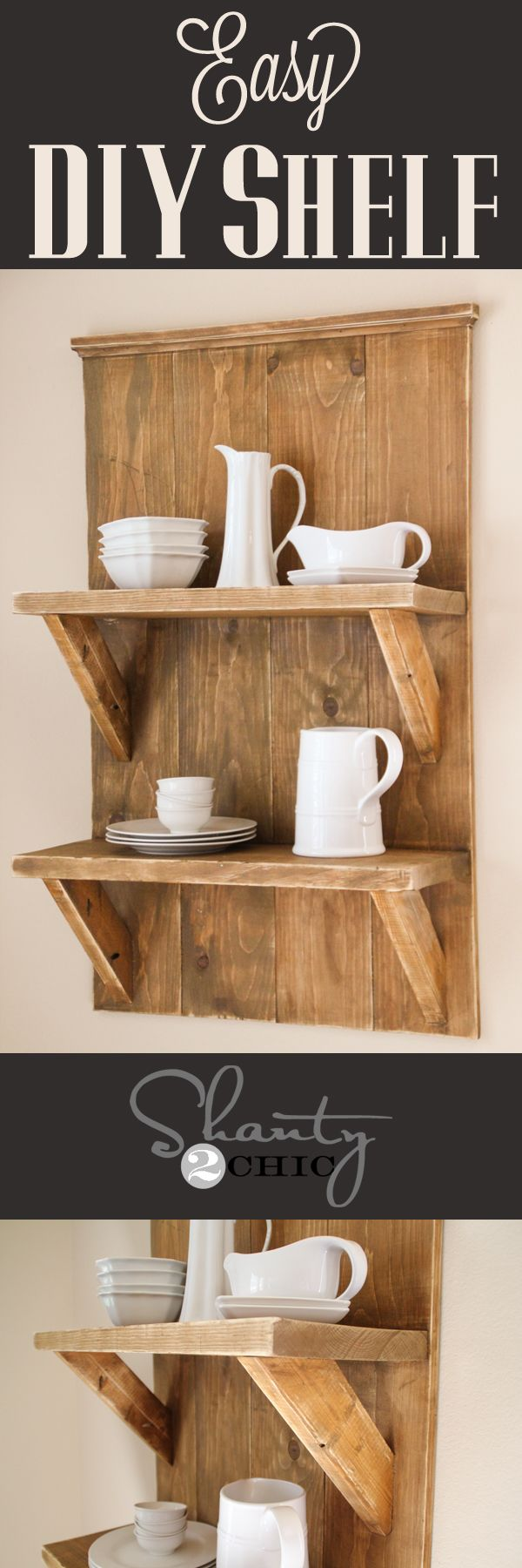 Easy DIY Shelf made with reclaimed lumber! Looks so easy!!
