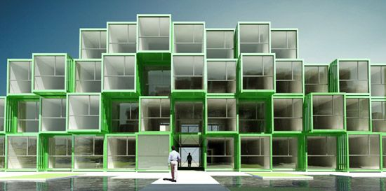 Student Housing Complex Designed From 100 Recycled Shipping Containers In France By OLGGA