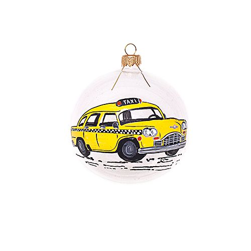 hand painted bauble with yellow New York taxi | Christmas decorations