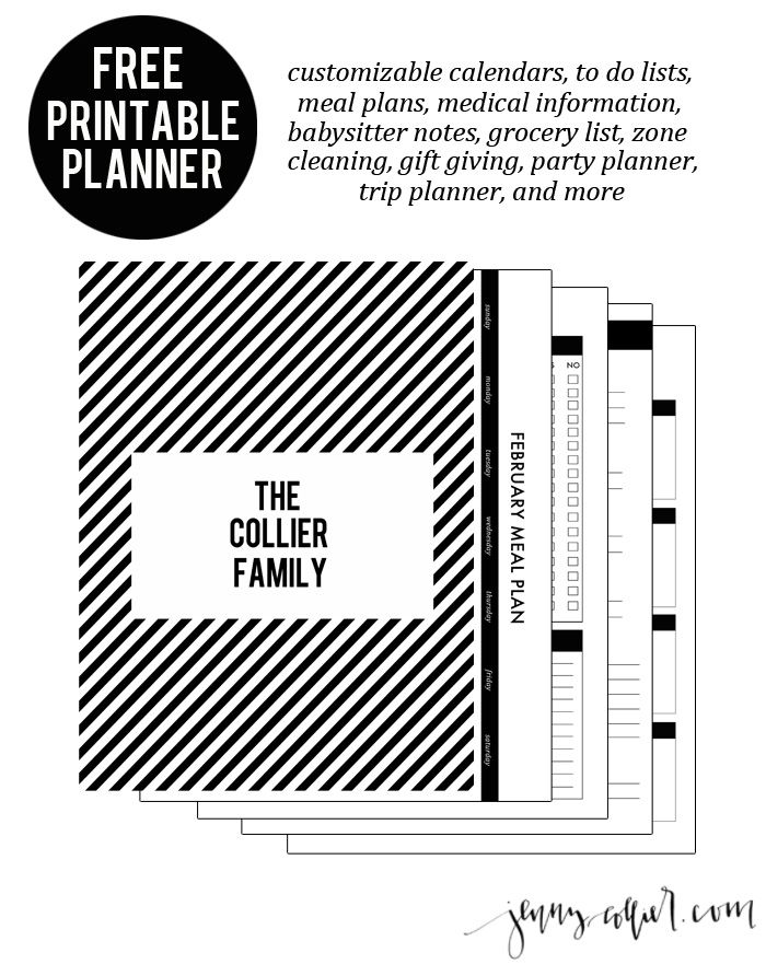 Free Printable Planner including customizable calendars, to do lists, meal plans, medical information, babysitter notes, grocery list, zone cleaning, gift giving, party planner, trip planner, and more!