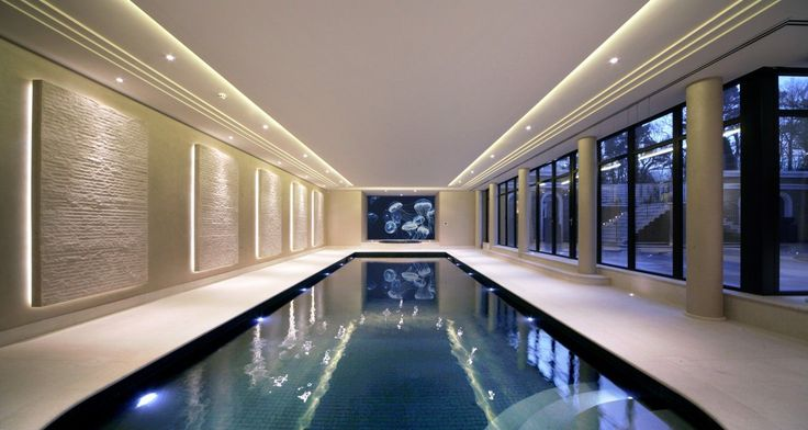 Falcon pools - best one I have seen. Like lights on wall, light tiles and dark blue inside the pool.