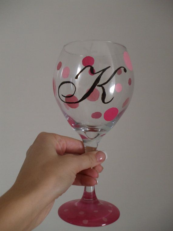 Monogrammed Hand Painted Glassware by TheClassyGlass on Etsy, $18.00