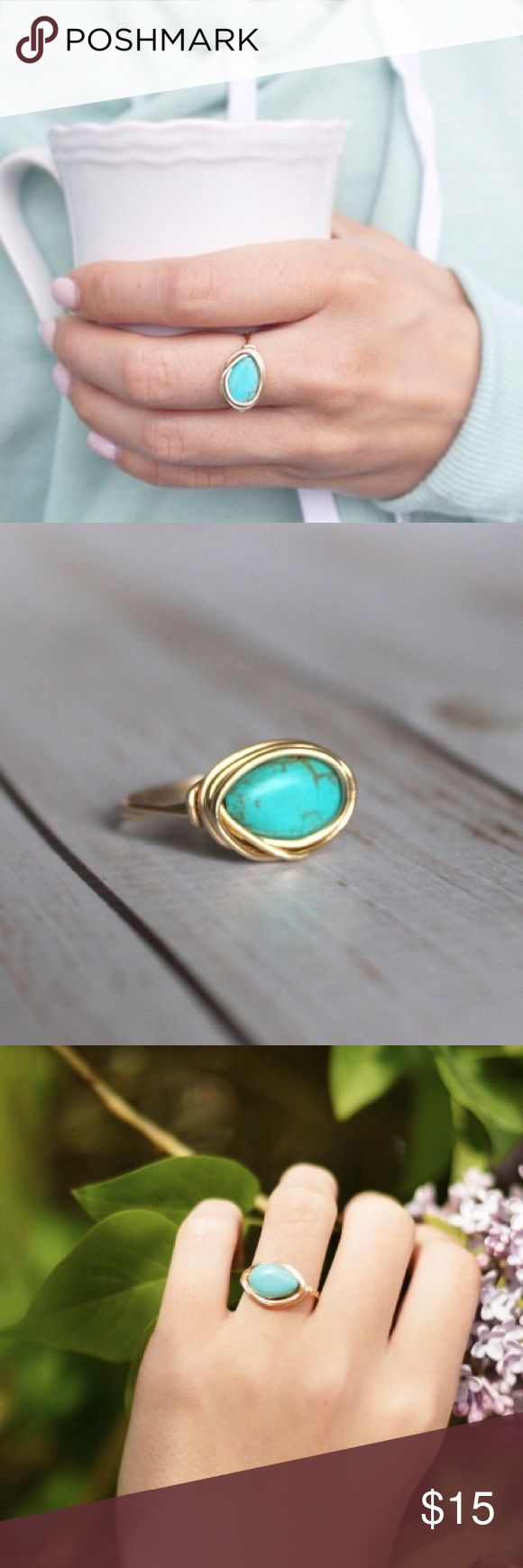 "Turquoise Magnesite Wire Wrapped Ring A turquoise colored magnesite bead and wire wrapped ring. The turquoise colored bead is teardrop shaped and perfectly smooth, with a bit of a ""puffed"" look--which makes for a great contrast to the organic, one-of-a-kind gold wrapping around the stone. The wire wrapping style is certainly meant to be a little imperfect, making each ring unique to its owner. The wire used for this ring is gold plated and tarnish resistant wire, meaning it holds up to"