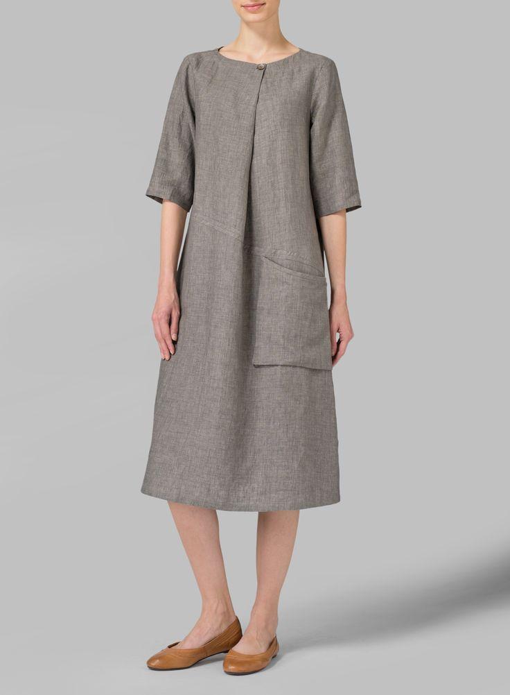 Linen Long Center Pleated Dress - Plus Size