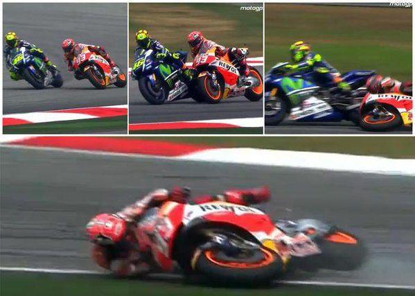 """Rossi a Sepang si trasforma nel """"giustiziere della notte"""", aspetta Marquez e lo fa cadere. Partira' ultimo a Valencia. Epilogo triste per un campione come lui."""