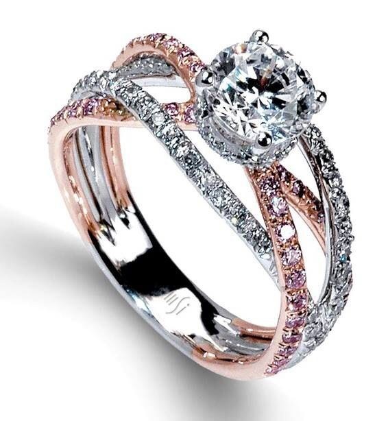 mark silverstein split shank 18k rose gold diamond engagement ring - Gold And Silver Wedding Rings