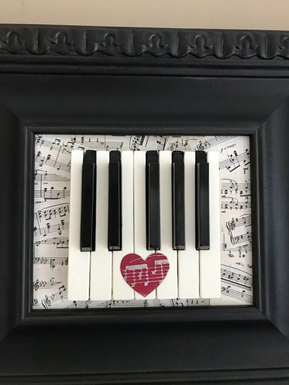 Piano Keys Framed Art Reusing Antique Piano Keys And Vintage Sheet